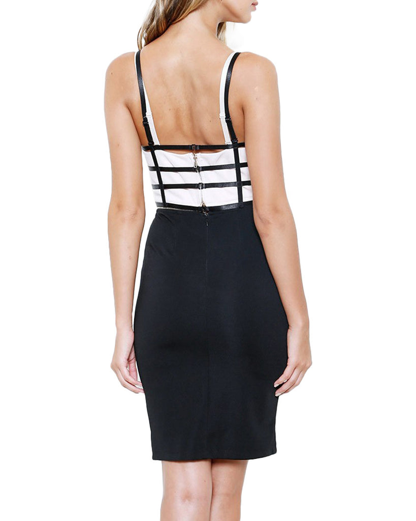 Cadged Bodice Sleeveless Bodycon Midi Dress