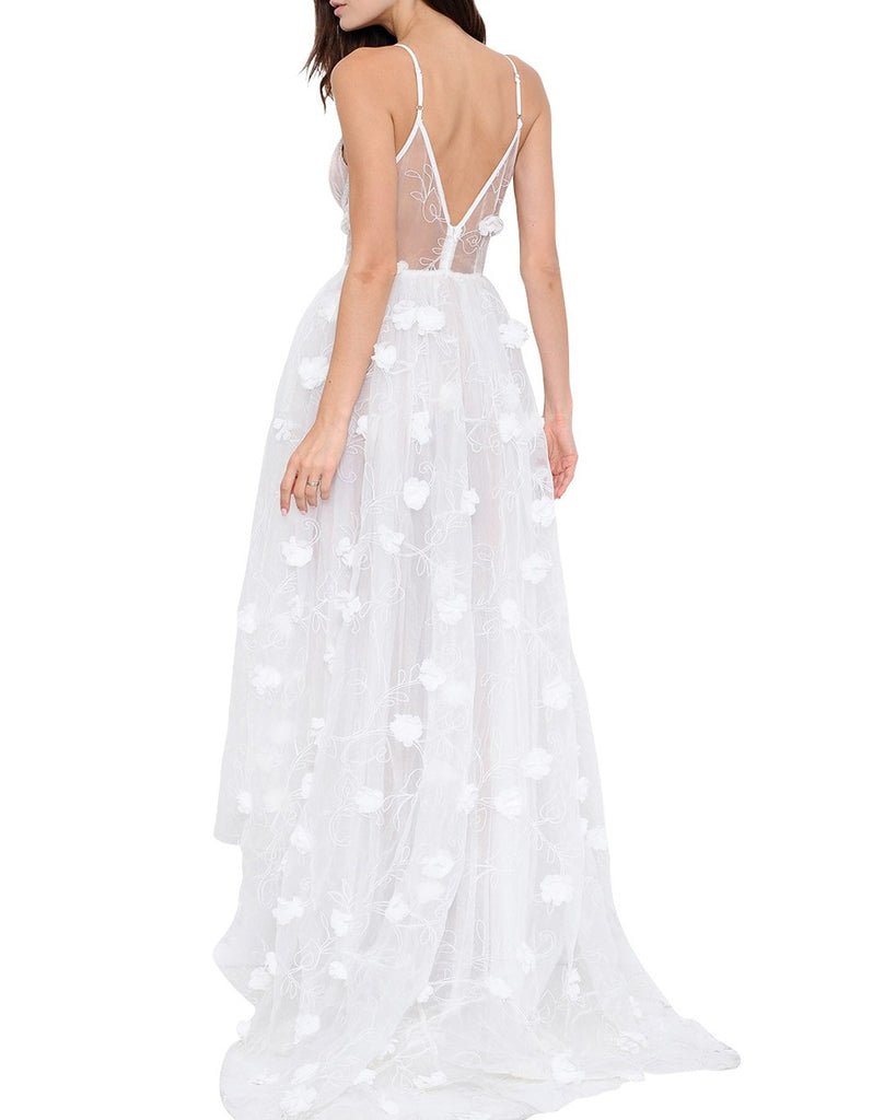 Sheer Bustier White 3D Floral Maxi Dress