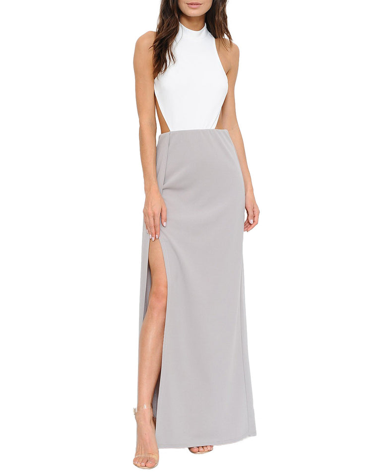 White and Taupe Halter Side Slit Maxi Dress
