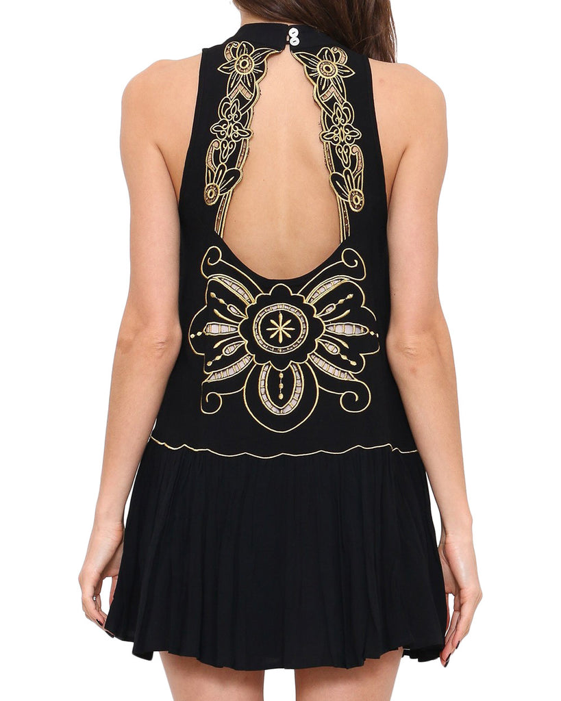 Black and Gold Halter Swing Dress