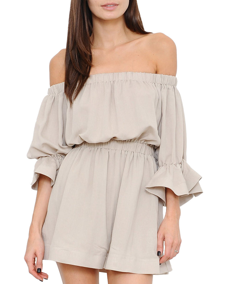 Sand Beige Off-the-Shoulder Flounce Dress