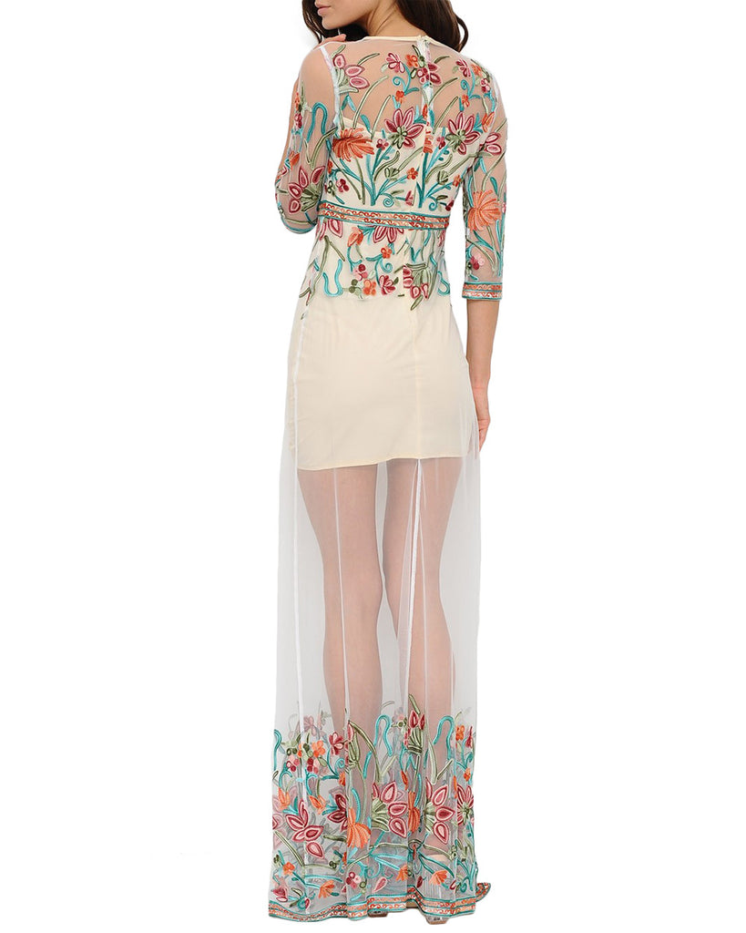 Scenic Floral Sheer Maxi Dress
