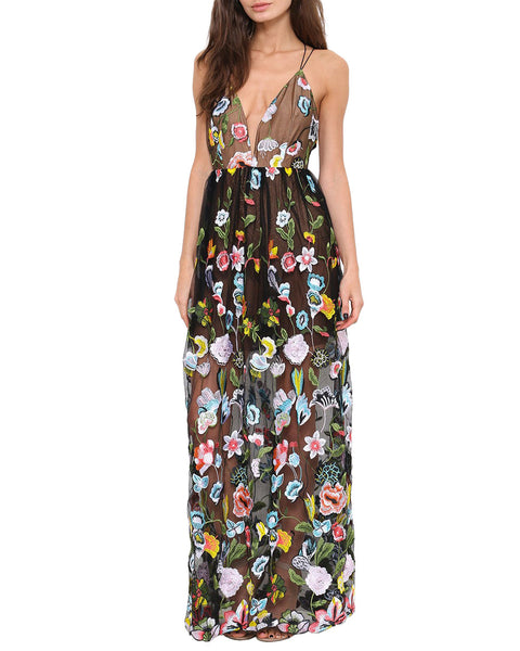Plunging V-Neck Black Floral Print Maxi Dress