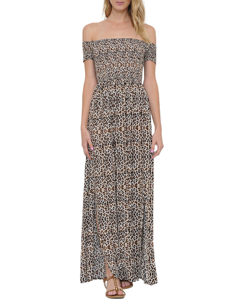 Leopard Smocked Off-the-Shoulder Maxi Dress