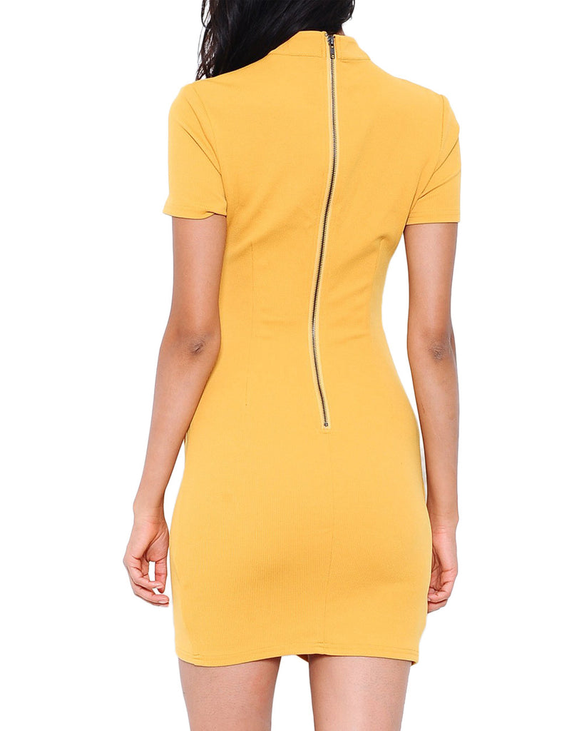 Ribbed Mock Neck Wrap Dress