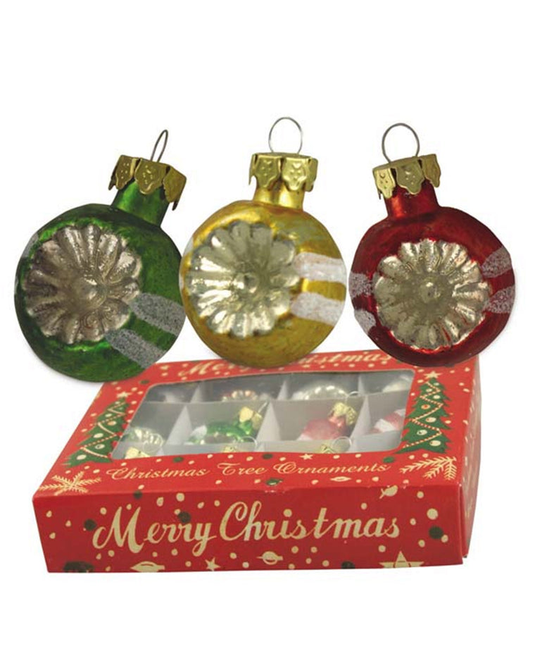 Retro Stripe Mercury Ball Ornament Set