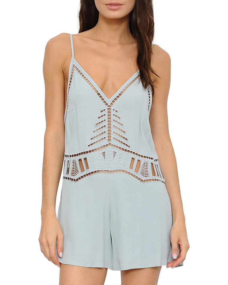 Seafoam Green Eyelet Sleeveless Romper