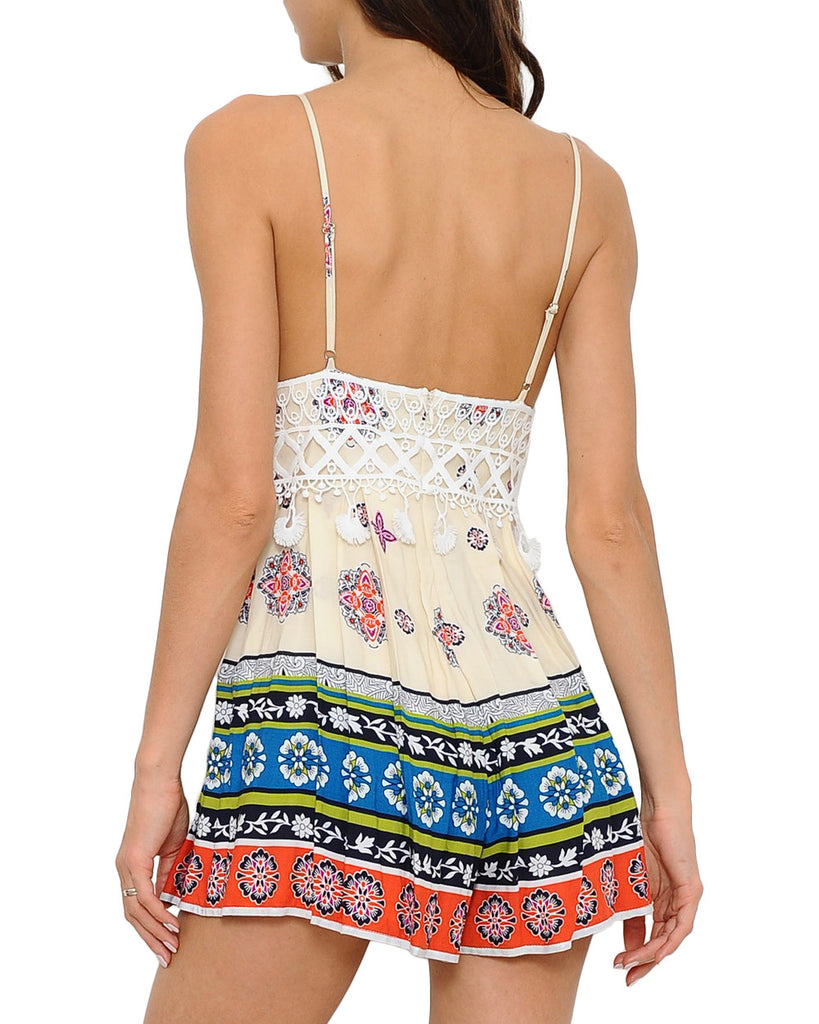 Colorful Pattern White Tassel Sleeveless Romper