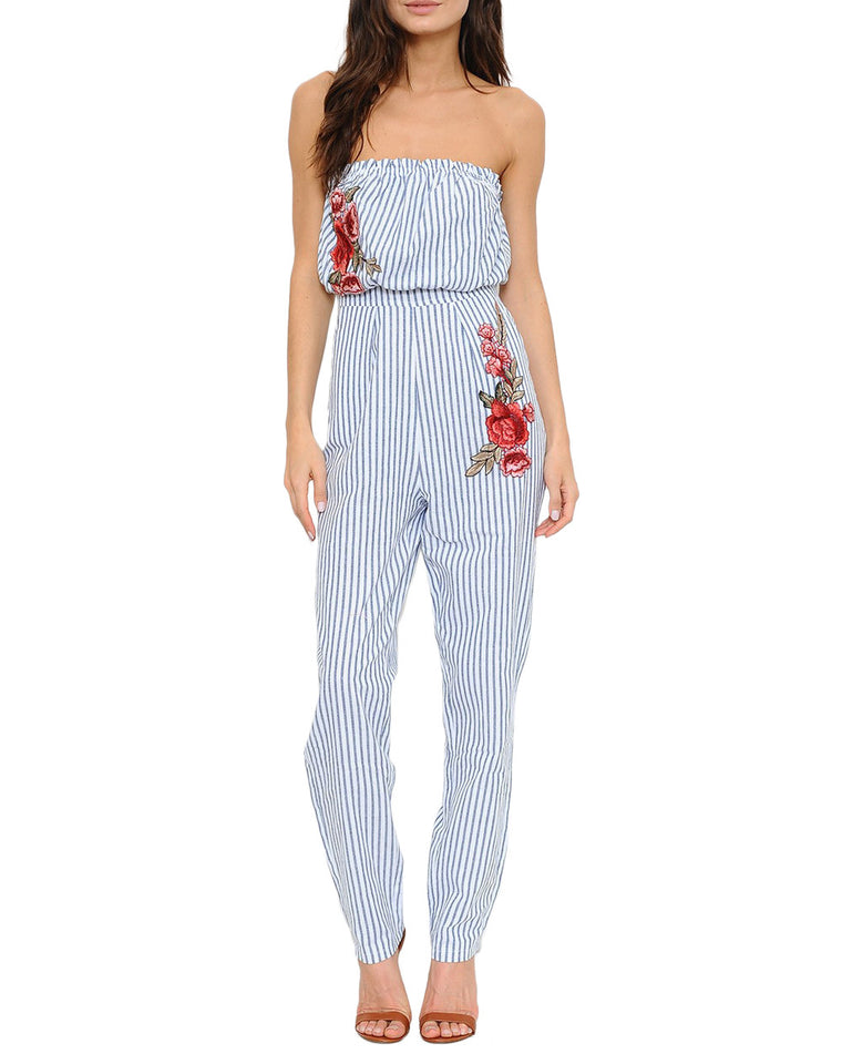 Strapless Stripe Floral Patch Jumpsuit