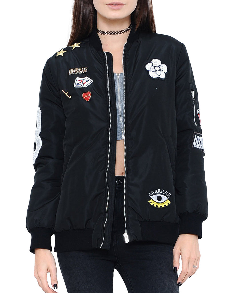Patched Zip-Up Bomber Jacket
