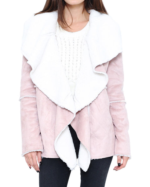 Blush Draped Collar Faux Shearling Coat
