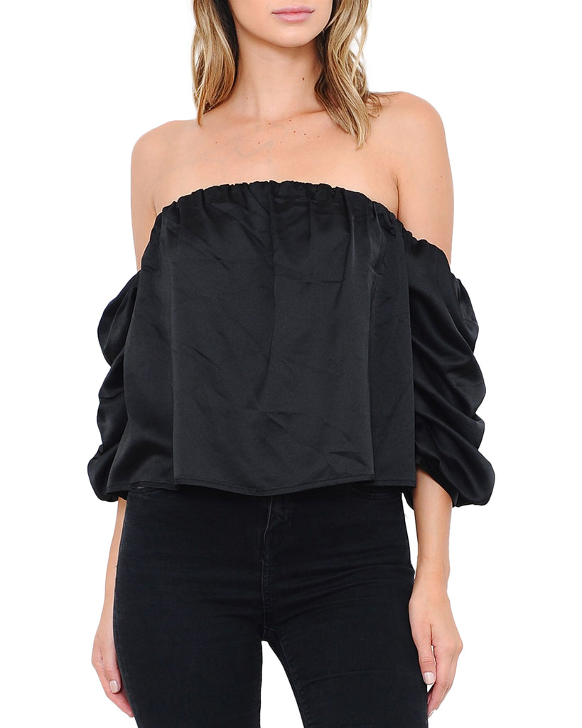 Black Satin Off-the-Shoulder Bubble Sleeve Top