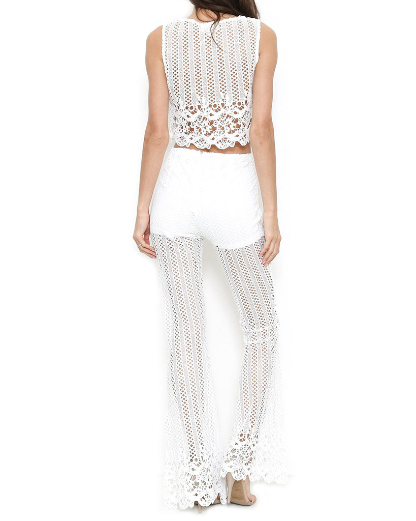 Ivory Crochet Bell Bottom Two-Piece Jumpsuit