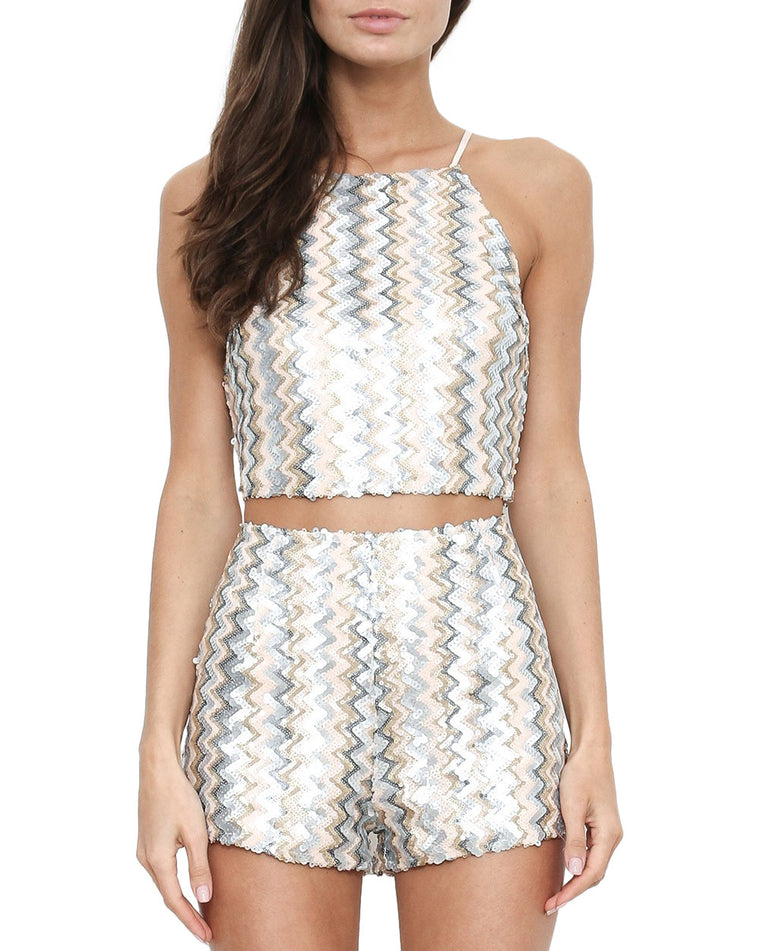 Sequin Zig Zag Print Two-Piece Set