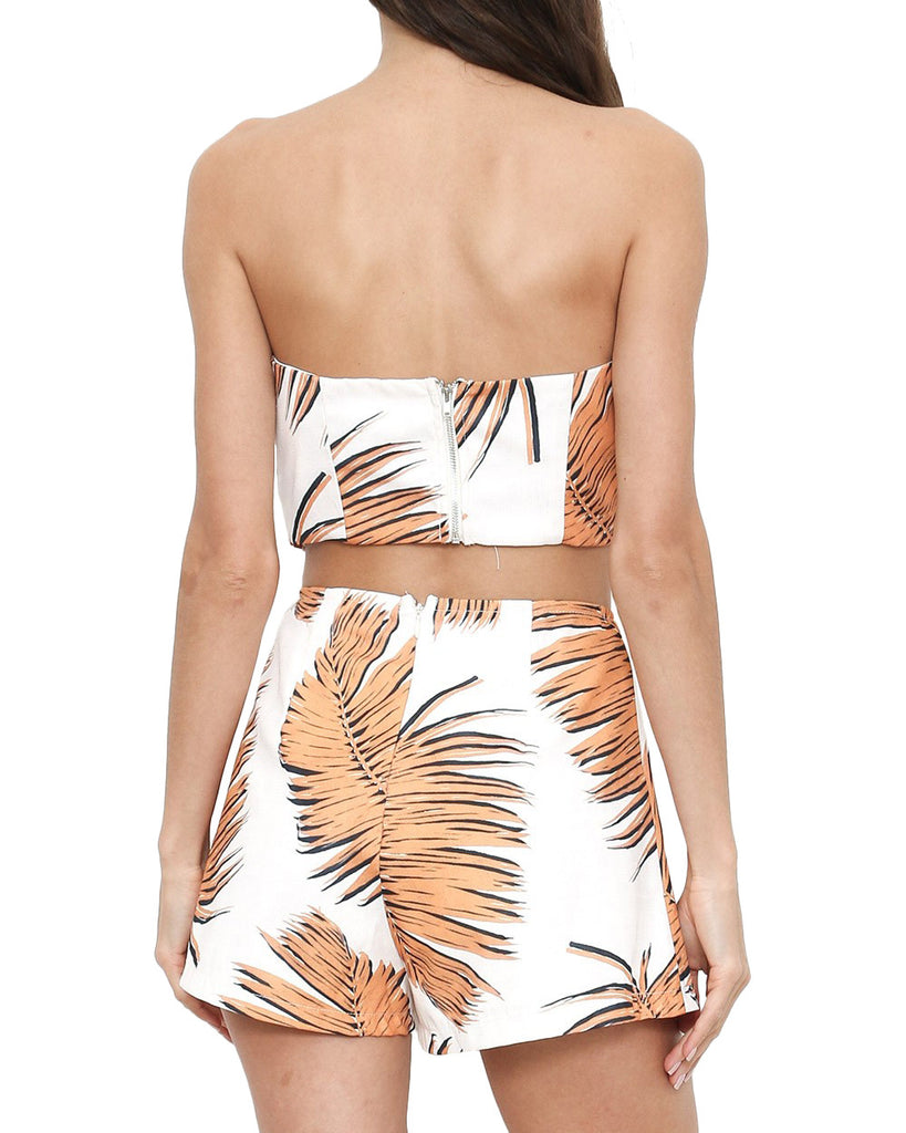 Orange Palm Leaf Print Strapless Two-Piece Romper