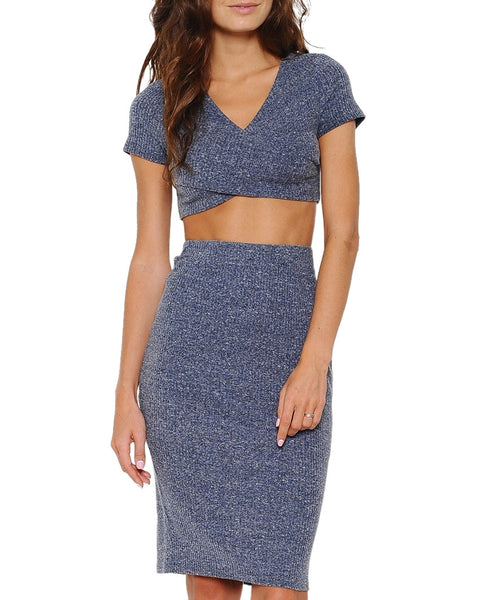 Criss-Cross Knit Midi Two-Piece Dress