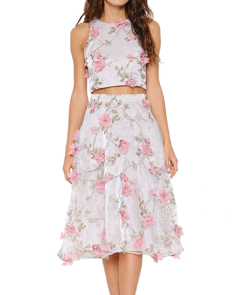 Floral Applique Organza Two-Piece Dress