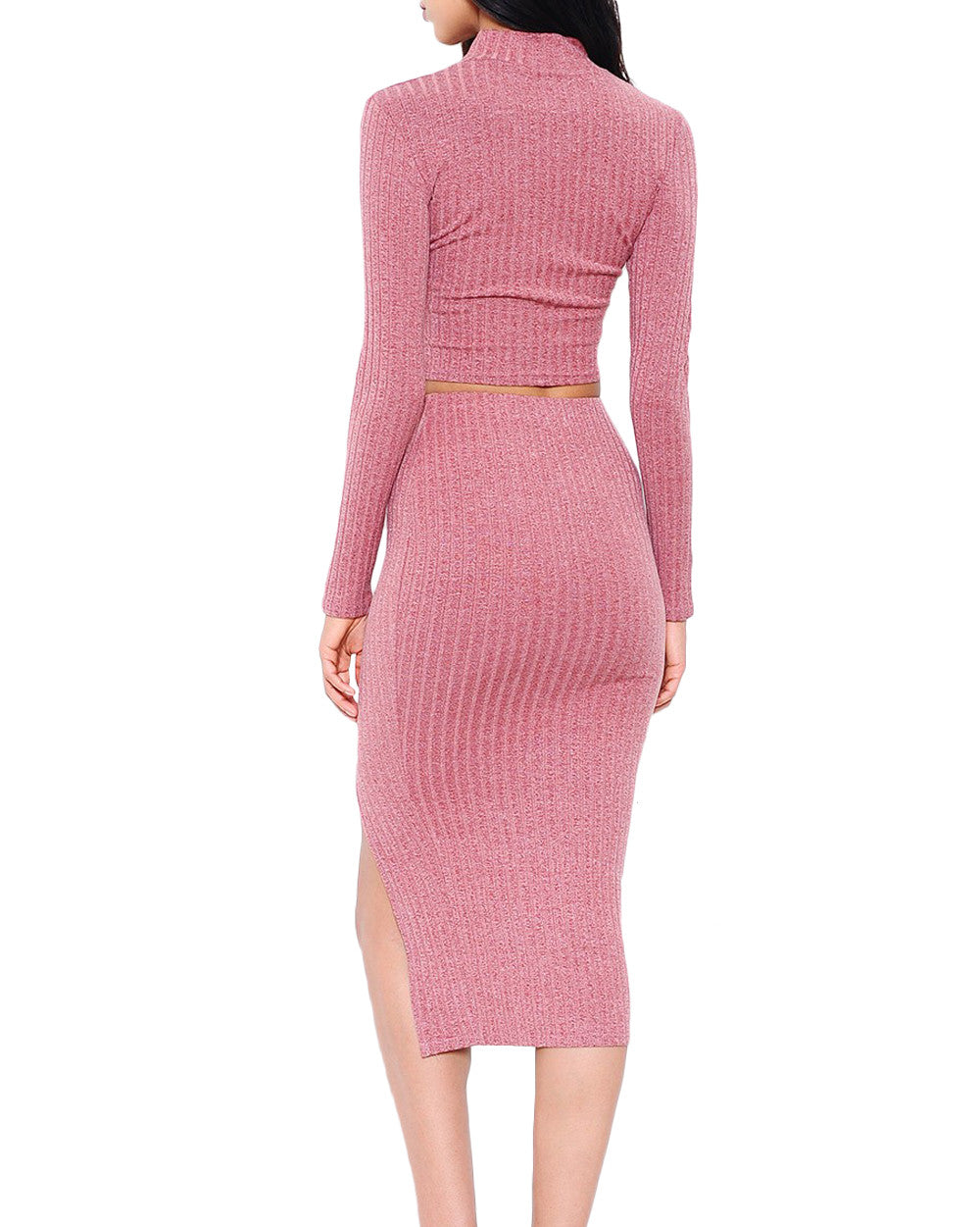 0959377147b4 Ribbed Mock Neck Knit Two-Piece Midi Dress - The Shopping Bag