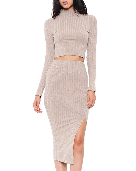 Ribbed Mock Neck Knit Two-Piece Midi Dress