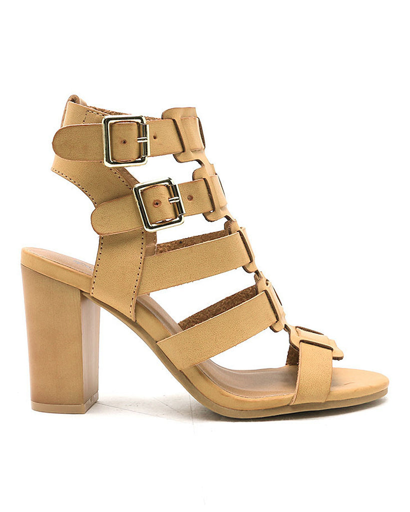 You Got It Caged Camel Heels