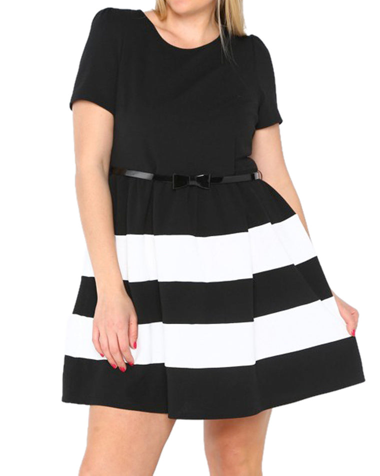 A-Line Belted Stripe Dress (Curvy Plus)