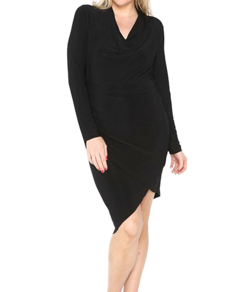 Asymmetrical Black Dress (Curvy Plus)