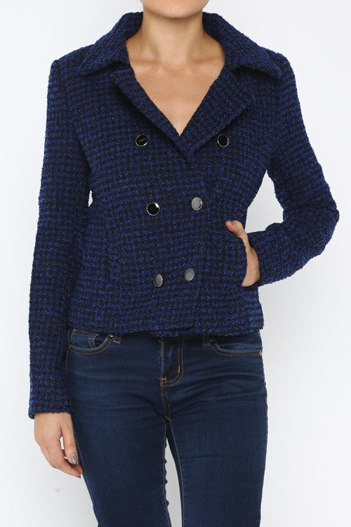 Royal Blue Boucle Tweed Coat