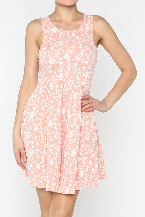 Peach Garden Party Dress