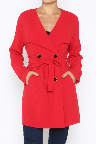 Mod Red Trench Coat