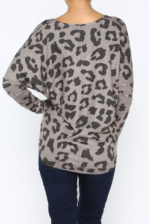 Leopard Print High-Low Sweater