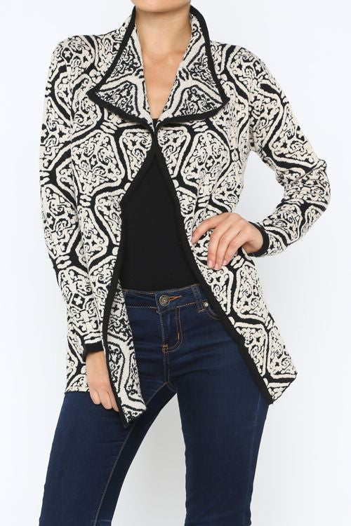Embossed Damask Angora Cardigan