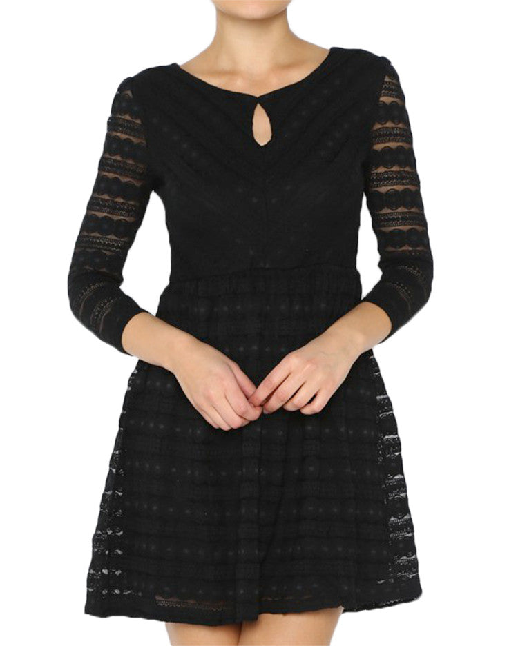 Black Sheer Sleeve Lace Dress