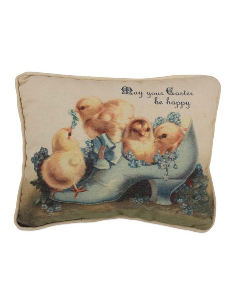 Chicks In Shoe Easter Throw Pillow