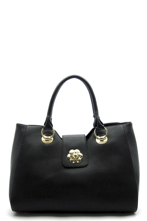 Flower Lock Structured Tote