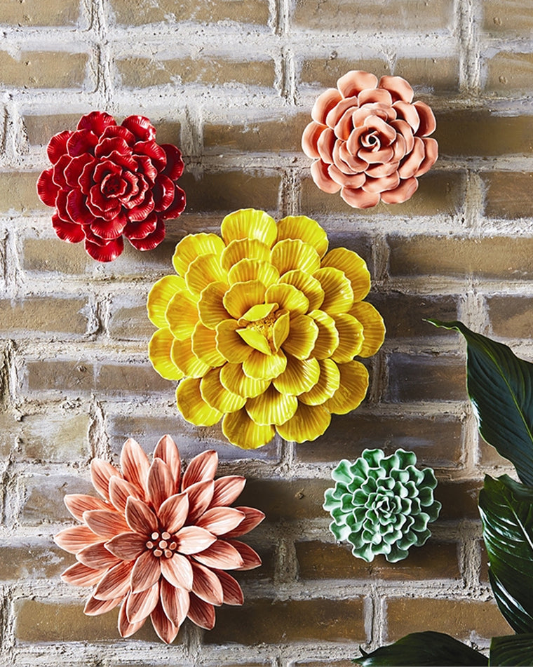 Colorful Garden Flower Wall Sculpture Set