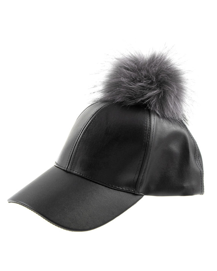 Pompom Faux Leather Baseball Cap