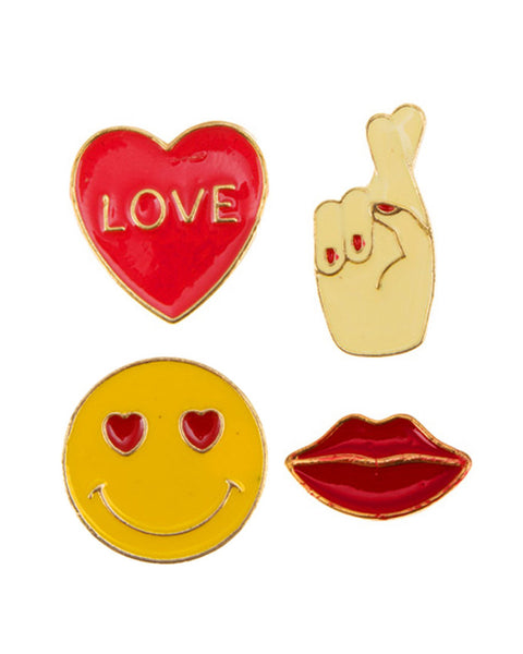 Love Emoji Pins (Set of 4)