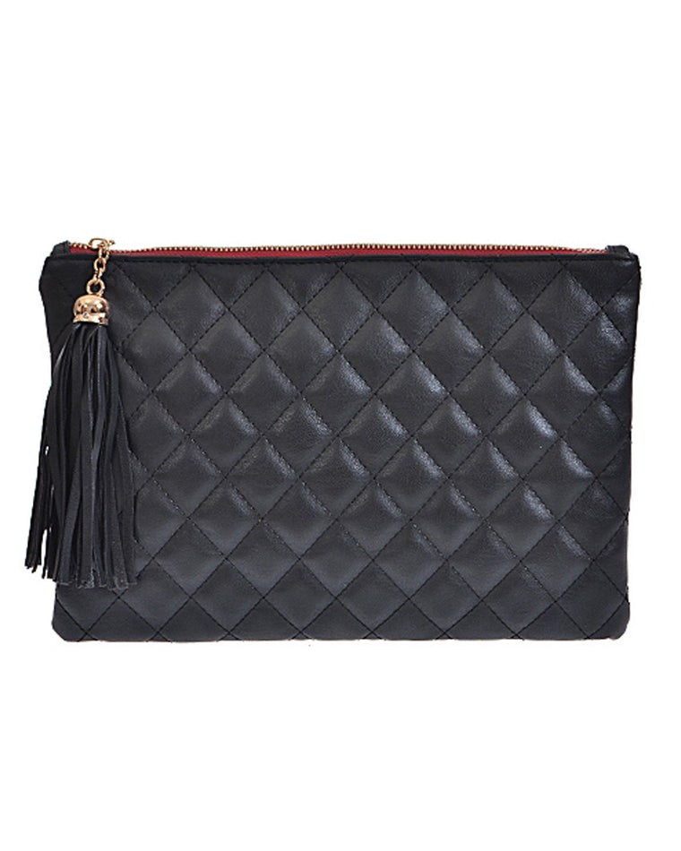 Black Quilted Tassel Zip Clutch