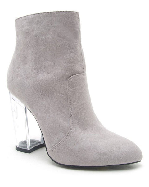 Clear to See Suede Lucite Heel Ankle Booties