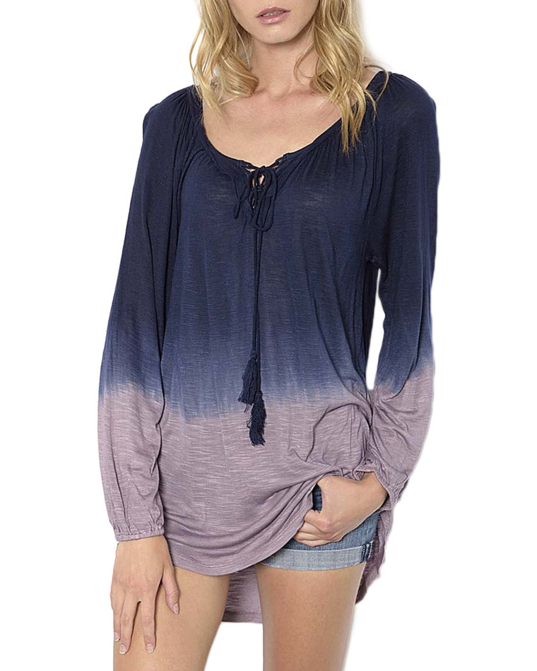 Ombré Long Sleeve Tunic Top