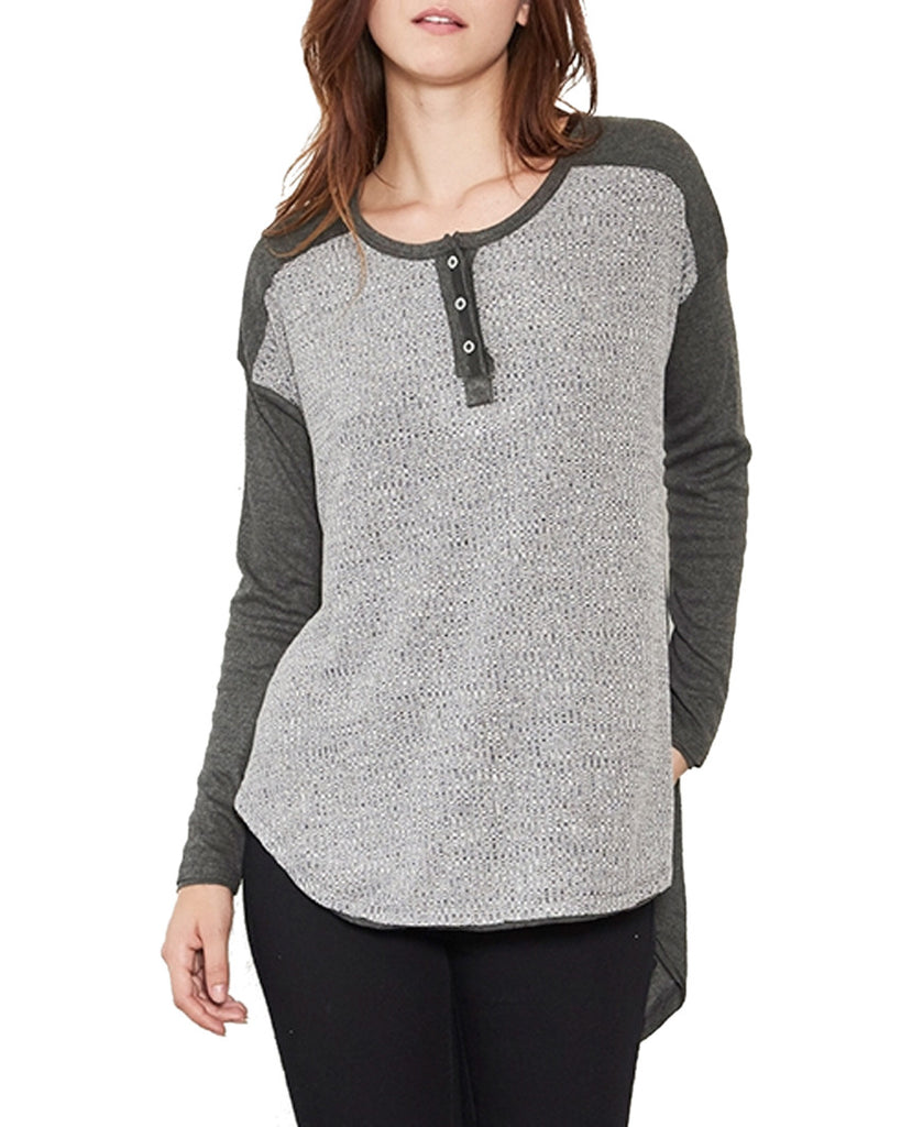 Charcoal Mixed Knit Henley Top