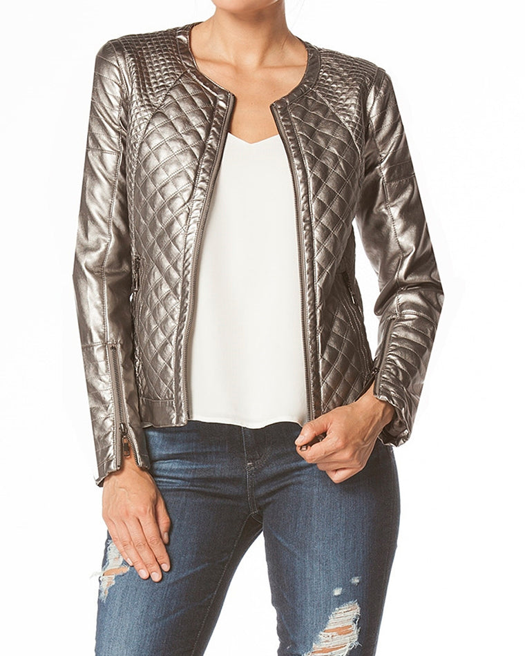 Metallic Quilted Bomber Jacket