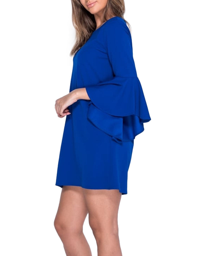 Cobalt Blue Ruffle Bell Sleeve Shift Dress