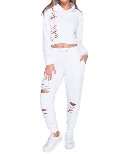 Distressed Cut Loungewear Two-Piece Set