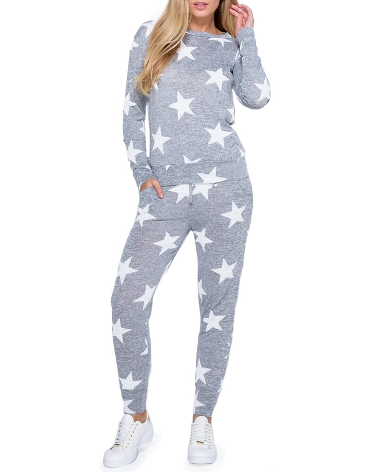 Gray Star Print Loungewear Two-Piece Set