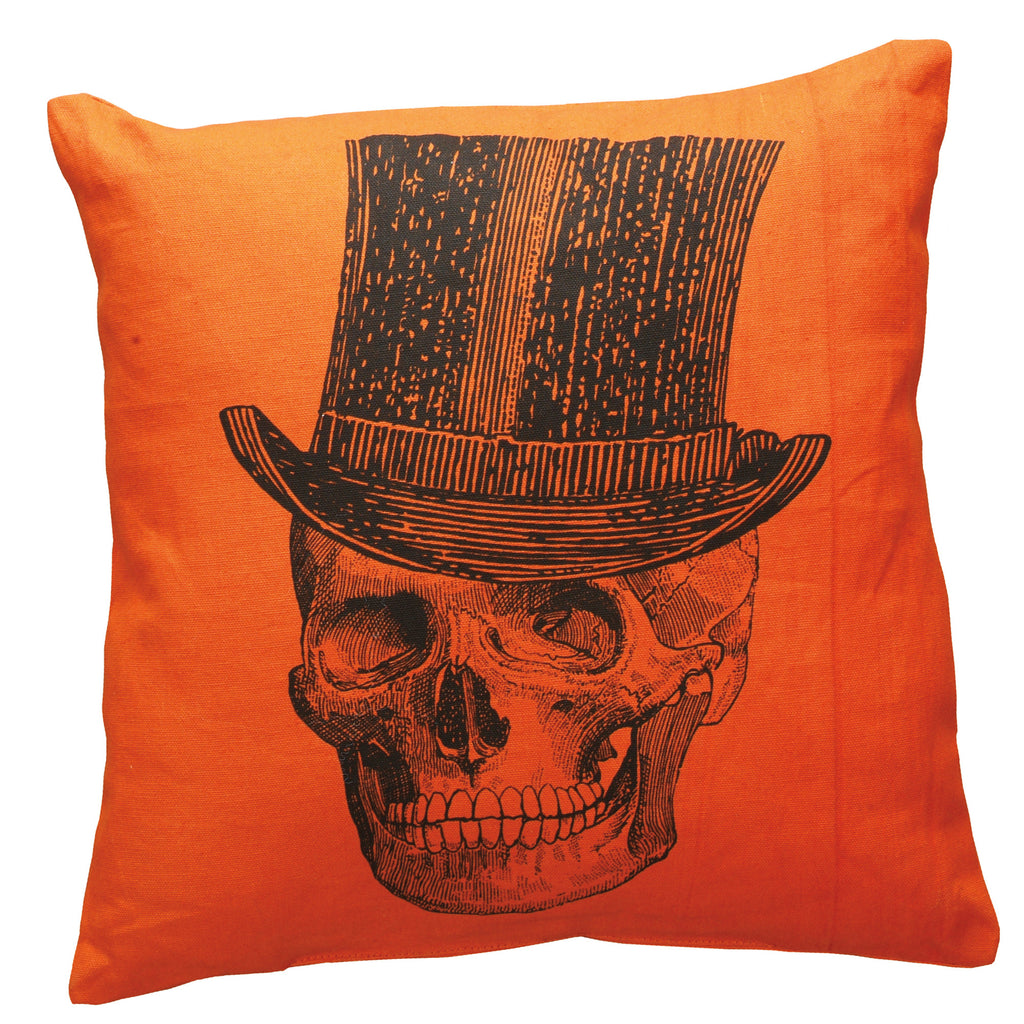 Top Hat Skeleton Orange Throw Pillow