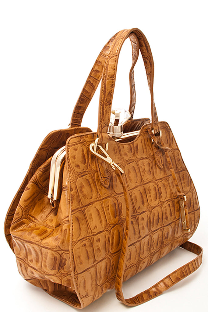 Bejeweled Crocodile Print Tote