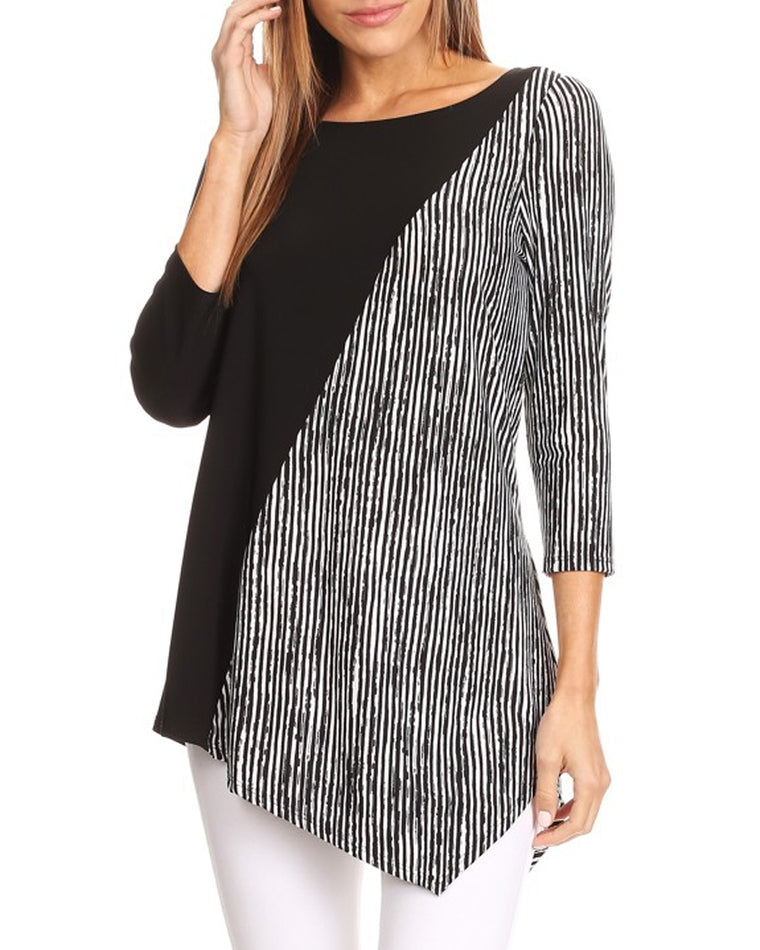 Black and White Asymmetrical Tunic Top (Plus Size)