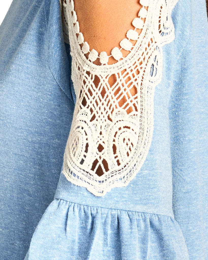 Heather Blue Crochet Open Shoulder Top