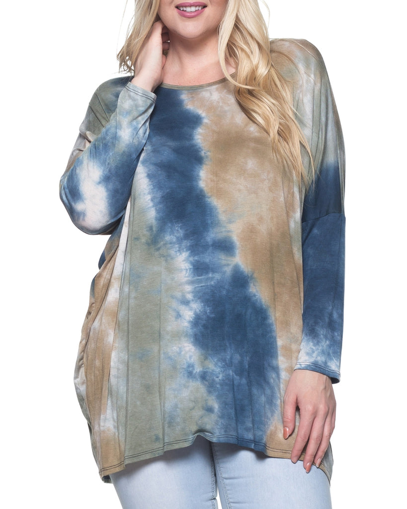 Navy and Taupe Tie Dye Print Long Sleeve Top (Plus Size)